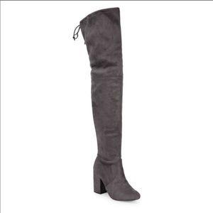 Steve Madden Norri Over Knee Boots Gray Textile